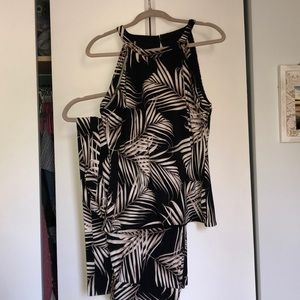 Palm print tank top and wide leg pant set